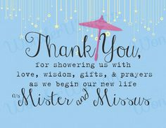 Thank You Quotes For Wedding Shower Gifts : Wedding Shower Thank You Note Cute Umbrella With Stars