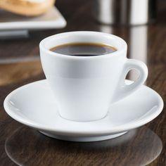 """CAC E-3 Venice 3.5 oz. White Espresso Cup with 4 7/8"""" Saucer - 48/Case"""