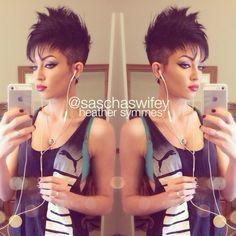 Women's faux hawk: heather symmes for some reason i find this hair cut cute!!