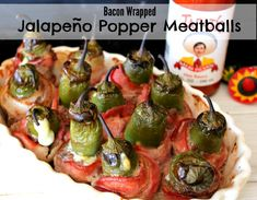~Bacon Wrapped Jalapeno Popper Meatballs!   Oh Bite It