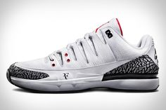 NikeCourt Zoom Vapor AJ3 by Jordan - Based on the Air Jordan 3 and Nike Zoom Vapor 9.5, this limited edition kick was developed in collaboration with both Federer and Jordan, with the legendary Tinker Hatfield leading the design team. The result is a shoe that functions as well on the tennis court as it looks at home on the hardwood, featuring Dynamic Fit technology, a Zoom cushioning unit housed in Phylon, and signature white/cement elements taken from the Air Jordan 3