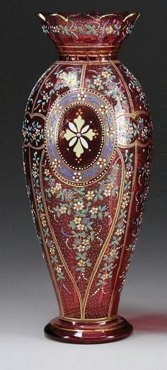 Moser Hand Painted Crystal Vase.