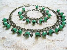 Green Gemstone Jewelry Aventurine Necklace Beaded Jewelry Ethnic Bracelet Romantic gifts Vintage Jewelry  Wedding Jewelry FREE SHIPPING