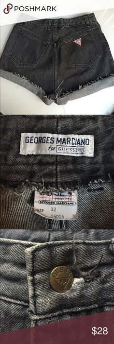 Guess Vintage Cut Offs Great pair of Guess cut off shorts. I custom made these from full size jeans. These date 80s/90s when Guess partnered with Georges Marciano. These are faded black. Features Guess patch on back pocket. 15 inch waist, super high rise at 13 inches! Will fit size 29-30. All offers considered. Guess Shorts Jean Shorts