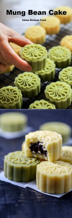 Chinese summer dessert--Mung Bean Cake Chinese dessert mung bean cake is a perfect dessert in hot summer. Only natural ingredients are used. Mooncake Recipe, Cake Recipes, Dessert Recipes, Bean Cakes, Almond Cookies, Asian Desserts, Cookie Desserts, Delicious Desserts, Sweet Treats