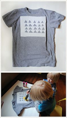 Lemon triangle stencil project on a colored tee shirt. Check this cute idea out.