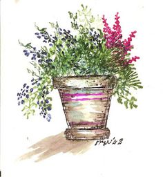 Watercolor Flower Pot (D1737) by Mary Witter