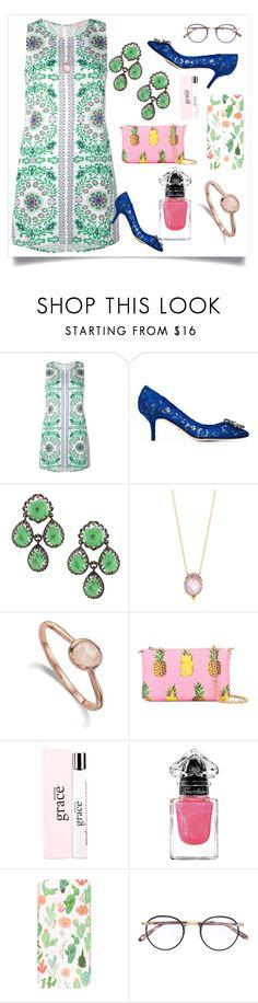 """Garden Party Print Dress..**"" by yagna ❤ liked on Polyvore featuring Tory Burch, Dolce&Gabbana, Freida Rothman, Monica Vinader, philosophy, Guerlain, Milkyway, Garrett Leight and vintage"