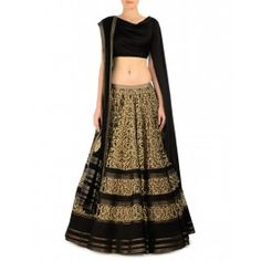 Embroidered Black Lengha Set with Draped Blouse