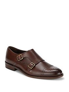 Bruno Magli Cap Toe Leather Shoes - Brandy - Size