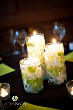 wedding reception decor,  candles, floating candles, candle wedding flower centerpiece, add pic source on comment and we will update it. www.myfloweraffair.com can create this beautiful wedding flower look.