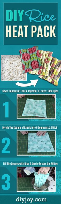 Sewing Projects DIY Rice Heat Pack - Easy Do It Yourself Heat Pack Tutorial Made With Rice - Cheap and Quick DIY Projects for the Home, This Craft Makes an Awesome DIY Gift Idea for Christmas Presents Sewing Hacks, Sewing Tutorials, Sewing Crafts, Sewing Patterns, Sewing Tips, Sewing Ideas, Beginners Sewing, Sewing Basics, Craft Patterns