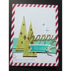 Happy Holidays Card Using Stampin' Up! Watercolor Winter Simply Created Card Kit/ www.stampinwithlinda.com