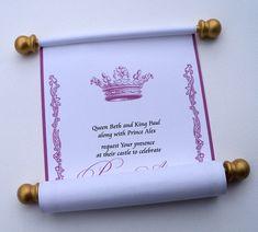 Princess birthday invitation scroll, royal crown for Cinderella girl celebration -@Jennifer Baldea Collins I will remember for the princess!!!
