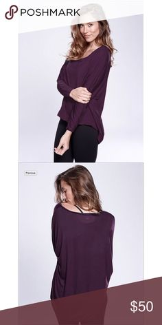 Jessica Crew Asymmetrical bottom hem is longer in back to cover your tush. Easy fit and super comfortable.   95% Rayon 5% Spandex rese Tops Tees - Long Sleeve