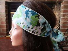 Blue Floral chiffon head wrap by myfashioncreations, $11.99