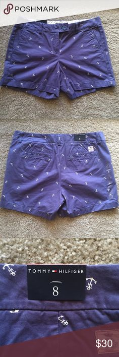 "Tommy Hilfiger Anchor Print Shorts 13.4"" length 4"" In seam  **Never worn, original tags attached** Tommy Hilfiger Shorts"