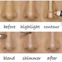 Face makeup, perfect contour technique for nose! Nose Makeup, Contour Makeup, Skin Makeup, Makeup Brushes, Strobing Makeup, Makeup Goals, Makeup Tips, Beauty Makeup, Makeup Ideas
