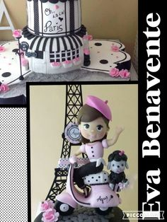 Paris cake porEva Benavente Cupcakes, Minnie Mouse, Disney Characters, Fictional Characters, Tour Eiffel, Cupcake Cakes, Fantasy Characters, Cup Cakes, Muffin