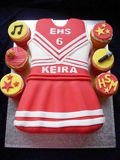 High School Musical Cheerleader Cake and Cupcakes Cheerleader Birthday Cake ideas, I love how they made the uniform Cheerleading Birthday Cakes, Cheer Birthday Party, Cheer Party, Girl Birthday, Cheerleader Cakes, Birthday Ideas, Birthday Stuff, 13th Birthday, Party Party