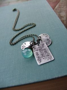 www.MyBellaMarketplace.com  #MyBellaMarketplace  My Greatest Blessings Call Me Mom Custom Hand Stamped Mommy Necklace with Kids Names And Blue Chalcedony Stone by MyBella
