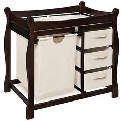 Baby Furniture Nursery Changing Table Espresso With Storage Drawers Hamper #BaBa