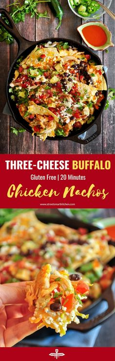 Three-Cheese Buffalo Chicken Nachos The best gooey, tangy, spicy buffalo chicken nachos you've ever had. Loaded with three types of cheese and fresh, Mexican-style ingredients. Ready in 20 minutes. Duck Recipes, Mexican Food Recipes, Whole Food Recipes, Sweets Recipes, Desserts, Easy Family Meals, Family Recipes, Buffalo Chicken Nachos, 30 Min Meals