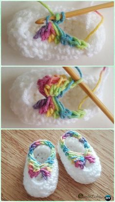 Quick Crochet Baby Booties with Bow Free Pattern - #Crochet Baby Booties Slippers Free Pattern