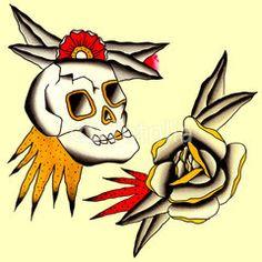 teschio con rosa Illustrazione Tatuaggio in stile old school