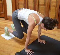Bear: this Lagree Method exercise can be done at home by placing your feet on a dish towel or sliders. From a plank position, slide your feet forward, bending your knees in towards your elbows (keep hips at shoulder height in a table top).