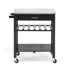 This useful kitchen cart hits all the style touchstones of an elegant, modern kitchen. The sleek, polished granite surface provides you with extra counter space for prep or storage, and the contrasting...  Find the Luxe Modern Kitchen Cart, as seen in the A Modern Day Farmhouse Collection at http://dotandbo.com/collections/a-modern-day-farmhouse?utm_source=pinterest&utm_medium=organic&db_sku=WSI0143