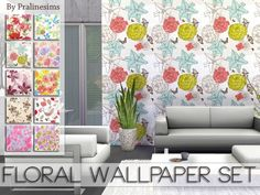 The Sims Resource: Floral Wallpaper Set by Pralinesims • Sims 4 Downloads