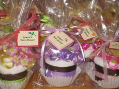 Washcloth  Flower Cupcake Party Favors by sdoodlesbakeshop on Etsy