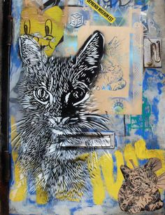 Large cat stencil by C215 with lil' brother on the bottom by LMNOP. (photo © Jaime Rojo)