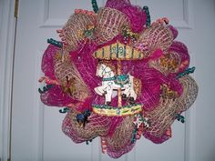 Buy Carousel Horse Mesh wreath by jeaniscreativewreath. Explore more products on http://jeaniscreativewreath.etsy.com