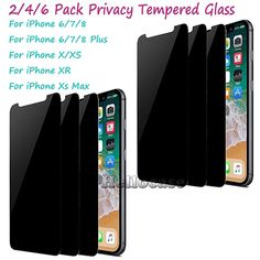 For iPhone 11 Pro X XR XS Max 6 7 8 Plus Tempered Glass Privacy Screen Protector  - Iphone Xs Screen Protector #IphoneXsScreenProtector Iphone Background Vintage, Tempered Glass Screen Protector, Iphone 11, Number, Ebay