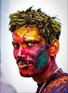This picture shows a man getting ready to celebrate Holi. Holi is a religious spring festival celebrated by Hindus. Holi is the same as the Festival of Colours. Holi Festival India, Holi Festival Of Colours, Holi Colors, India Colors, Holi Pictures, Holi Images, Pictures Images, Happy Holi, Portraits