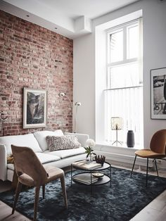 Scandinavian home interior design idea 3 Scandinavian Home Interiors, Open Plan Apartment, Home, Brick Interior Wall, Living Room Interior, House Interior, Brick Living Room, Home Interior Design, Brick Interior
