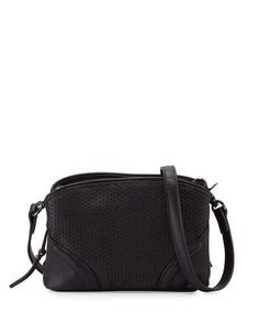 V372L French Connection Brett Perforated Faux-Leather Crossbody Bag, Black