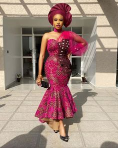 Ankara Aso Ebi styles for 2020 Latest African Fashion Dresses, African Dresses For Women, African Print Dresses, African Print Fashion, Women's Fashion Dresses, African Clothes, African Women, Nigerian Dress Styles, Nigerian Lace Dress