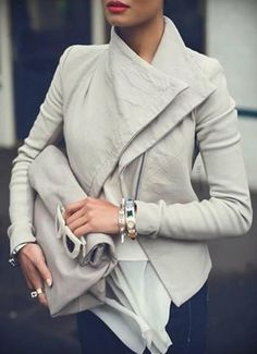 Stylish Silver Grey Turn-Down Collar Long Sleeve Slimming Solid Color Women's Jacket