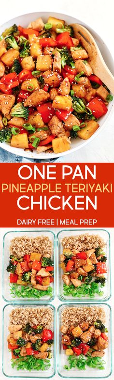 One Pan Pineapple Teriyaki Chicken - Eat Yourself Skinny This 20 minute One Pan Pineapple Teriyaki Chicken is the perfect weeknight meal that is healthy, loaded with flavor and perfect for your weekly meal prep! Chicken Teriyaki Rezept, Teriyaki Pineapple Chicken, Healthy Teriyaki Chicken, Homemade Teriyaki Sauce, Clean Eating, Healthy Eating, Healthy Cooking, Healthy Life, Healthy Drinks