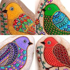 Close up new birds Pebble Painting, Dot Painting, Pebble Art, Stone Painting, Stone Crafts, Rock Crafts, Arts And Crafts, Pet Rocks, Art N Craft