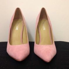 Pink Suede Stilettos Adorable pair of pink stilettos, perfect with a cute dress or even your favorite pair of jeans. Labeled size 7, probably fits closer to size 8. Never been worn, comes with original box and packaging. Feel free to ask any questions. Public Desire Shoes Heels