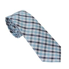 Blue and Teal Plaid. TieTry, skinny tie. Netflix for ties