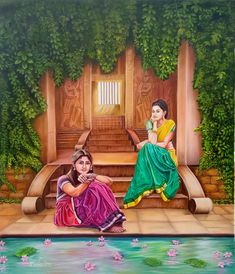 Two friend relaxing - Handpainted Art Painting - X Art Village, Village Scene Drawing, Indian Women Painting, Indian Art Paintings, Human Figure Sketches, Rajasthani Painting, Composition Painting, Relaxing Art, Madhubani Painting