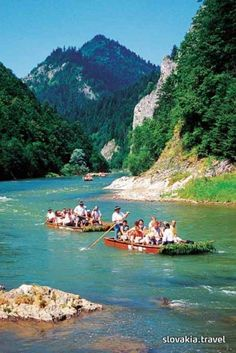 Rafting using wooden rafts is one of the greatest tourist attractions of northern Slovakia. One of the unforgettable experiences is certainly rafting down the river Dunajec in the splendid natural scenery of the Pieniny National Park. Bratislava, European Destination, Natural Scenery, Beautiful Places To Travel, Central Europe, Europe Travel Tips, Eastern Europe, Holiday Destinations, Holiday Travel
