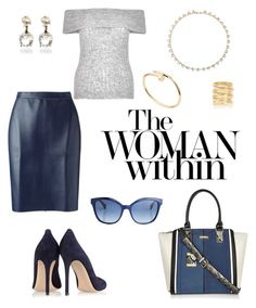"""""""Don't be that blue."""" by schenonek ❤ liked on Polyvore featuring MSGM, River Island, Fendi, Gianvito Rossi, Woman Within, Cartier and Decree"""