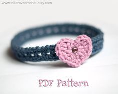 CROCHET PATTERN #7 - Valentine's Day Pink Heart Headband (Baby to Adult sizes).