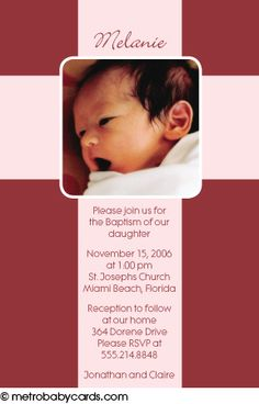Photo Baptism/Christening Invitations :: Cross Pink Design